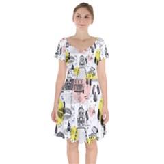 The Park  Pattern Design Short Sleeve Bardot Dress