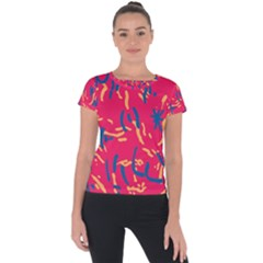 Pattern Booty Faces Short Sleeve Sports Top  by Sudhe