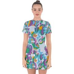Pattern Hotdogtrap Drop Hem Mini Chiffon Dress