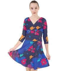 Patterns Rosebuds Quarter Sleeve Front Wrap Dress