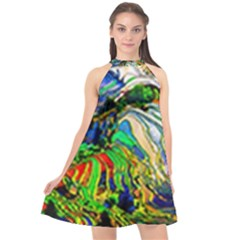 Artistic Nature Painting Halter Neckline Chiffon Dress