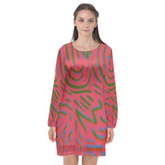 Pattern Saying Wavy Long Sleeve Chiffon Shift Dress