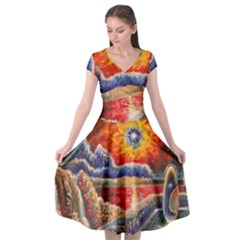 Sci Fi  Landscape Painting Cap Sleeve Wrap Front Dress