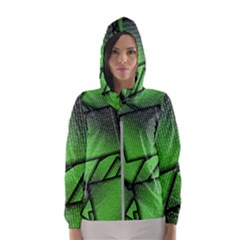 Binary Digitization Null Green Women s Hooded Windbreaker