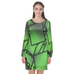 Binary Digitization Null Green Long Sleeve Chiffon Shift Dress