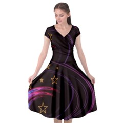 Background Abstract Star Cap Sleeve Wrap Front Dress