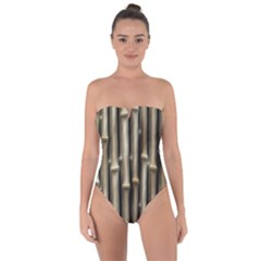 Bamboo Grass Tie Back One Piece Swimsuit