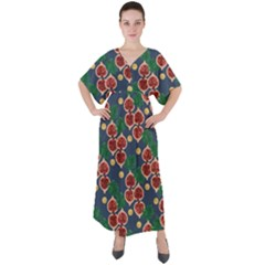 Figs And Monstera  V-neck Boho Style Maxi Dress by VeataAtticus