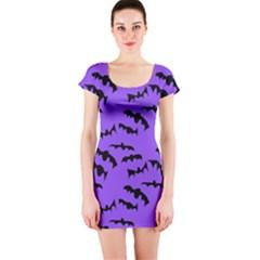 Bats Pattern Short Sleeve Bodycon Dress