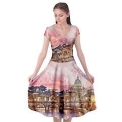 City Buildings Bridge Water River Cap Sleeve Wrap Front Dress