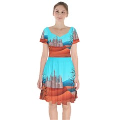 Castle Landscape Mountains Hills Short Sleeve Bardot Dress