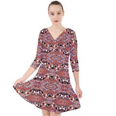 Na A 15 Quarter Sleeve Front Wrap Dress