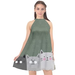 Cute Cats Halter Neckline Chiffon Dress  by Valentinaart