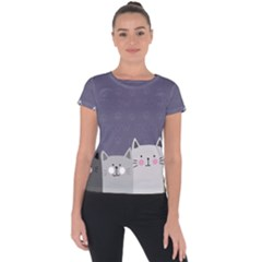 Cute Cats Short Sleeve Sports Top  by Valentinaart