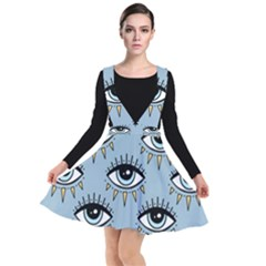 Eyes Pattern Plunge Pinafore Dress by Valentinaart