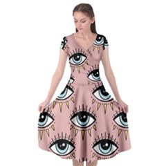 Eyes Pattern Cap Sleeve Wrap Front Dress