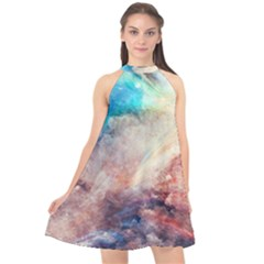 Abstract Painting Halter Neckline Chiffon Dress