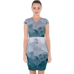 Sea Waves Capsleeve Drawstring Dress  by goljakoff