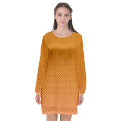 Orange Dotted Grid Long Sleeve Chiffon Shift Dress