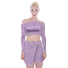 Lavender Elegance Off Shoulder Top With Mini Skirt Set by retrotoomoderndesigns