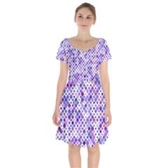 Purple Squared Short Sleeve Bardot Dress by retrotoomoderndesigns