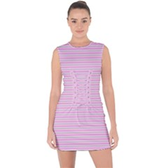 Pink Stripes Horizontal Lace Up Front Bodycon Dress by retrotoomoderndesigns