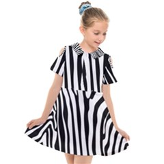 Vector Zebra Stripes Seamless Pattern Kids  Short Sleeve Shirt Dress by Vaneshart