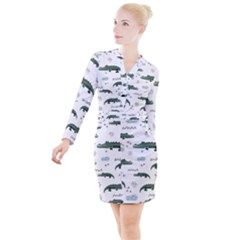 Vector Seamless Pattern With Cute Crocodiles Button Long Sleeve Dress