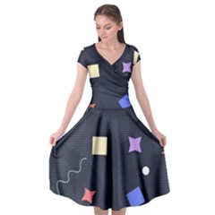 Memphis Pattern With Geometric Shapes Cap Sleeve Wrap Front Dress