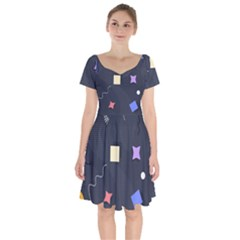 Memphis Pattern With Geometric Shapes Short Sleeve Bardot Dress