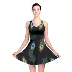 Seamless Pattern With Peacock Feather Reversible Skater Dress by Vaneshart