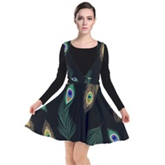 Seamless Pattern With Peacock Feather Plunge Pinafore Dress by Vaneshart