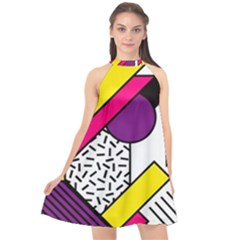 Memphis Colorful Background With Stroke Halter Neckline Chiffon Dress  by Vaneshart