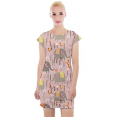Cute Elephant Wild Flower Field Seamless Pattern Cap Sleeve Bodycon Dress