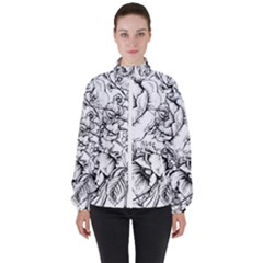 Vintage Floral Vector Seamless Pattern With Roses Women s High Neck Windbreaker