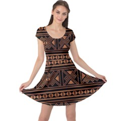 Colorful Bright Ethnic Seamless Striped Pattern Background Orange Black Colors Cap Sleeve Dress