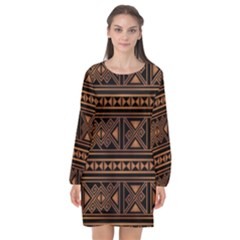 Colorful Bright Ethnic Seamless Striped Pattern Background Orange Black Colors Long Sleeve Chiffon Shift Dress