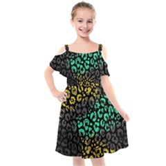 Abstract Geometric Seamless Pattern With Animal Print Kids  Cut Out Shoulders Chiffon Dress by Vaneshart