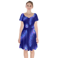 Seamless Pattern With Colorful Peacock Feathers Dark Blue Background Short Sleeve Bardot Dress
