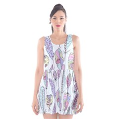 Vector Illustration Seamless Multicolored Pattern Feathers Birds Scoop Neck Skater Dress by Vaneshart