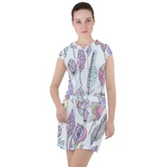Vector Illustration Seamless Multicolored Pattern Feathers Birds Drawstring Hooded Dress by Vaneshart