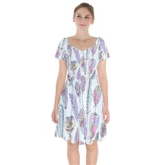 Vector Illustration Seamless Multicolored Pattern Feathers Birds Short Sleeve Bardot Dress