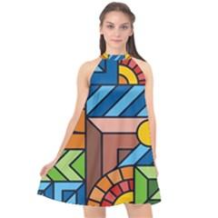 Colorful Geometric Mosaic Background Halter Neckline Chiffon Dress
