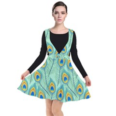 Lovely Peacock Feather Pattern With Flat Design Plunge Pinafore Dress by Vaneshart
