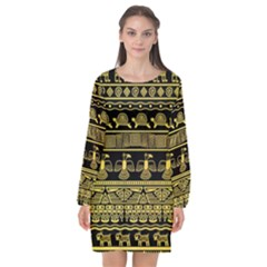 Tribal Gold Seamless Pattern With Mexican Texture Long Sleeve Chiffon Shift Dress