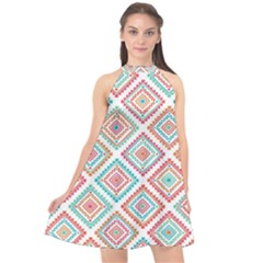Ethnic Seamless Pattern Tribal Line Print African Mexican Indian Style Halter Neckline Chiffon Dress