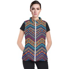 Full Color Pattern With Ethnic Ornaments Women s Puffer Vest