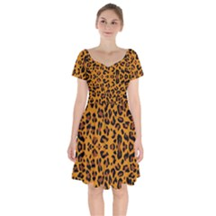 Orange Leopard Short Sleeve Bardot Dress