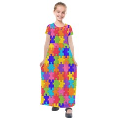 Rainbow Jigsaw Puzzle Kids  Short Sleeve Maxi Dress by retrotoomoderndesigns