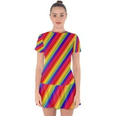 Rainbow Diagonal Stripes Drop Hem Mini Chiffon Dress